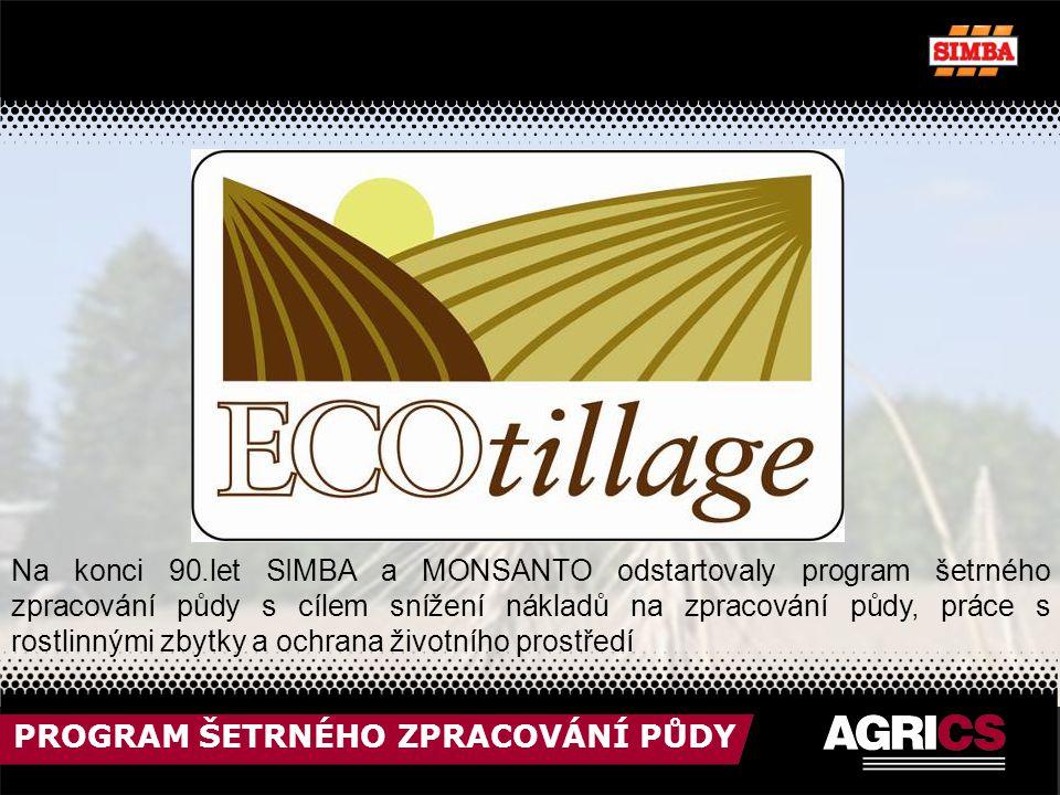 PROGRAM ŠETRNÉHO ZPRACOVÁNÍ PŮDY Na konci 90.let SIMBA a MONSANTO odstartovaly program šetrného zpracování půdy s cílem snížení nákladů na zpracování půdy, práce s rostlinnými zbytky a ochrana životního prostředí
