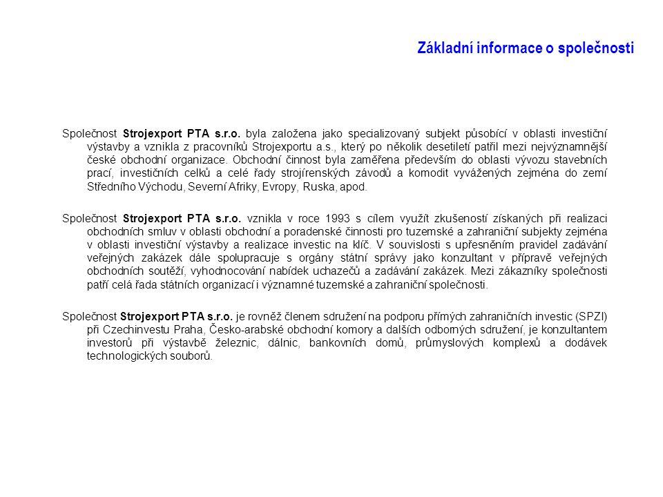 Základní informace o společnosti Společnost Strojexport PTA s.r.o. byla založena jako specializovaný subjekt působící v oblasti investiční výstavby a