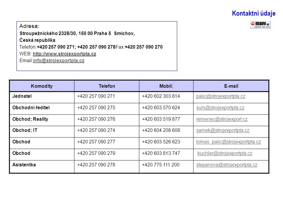 Kontaktní údaje Adresa: Stroupežnického 2328/30, 150 00 Praha 5 Smíchov, Česká republika Telefon:+420 257 090 271; +420 257 090 278Fax:+420 257 090 27