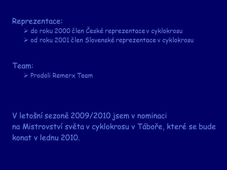 Reprezentace:  do roku 2000 člen České reprezentace v cyklokrosu  od roku 2001 člen Slovenské reprezentace v cyklokrosu Team:  Prodoli Remerx Team