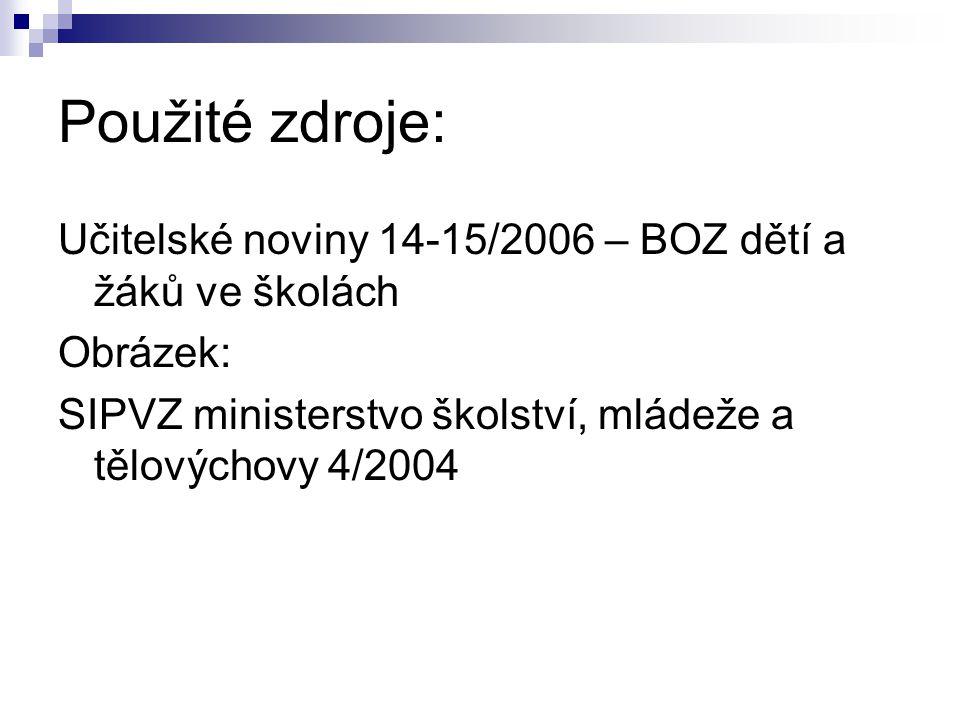 Použité zdroje: Učitelské noviny 14-15/2006 – BOZ dětí a žáků ve školách Obrázek: SIPVZ ministerstvo školství, mládeže a tělovýchovy 4/2004