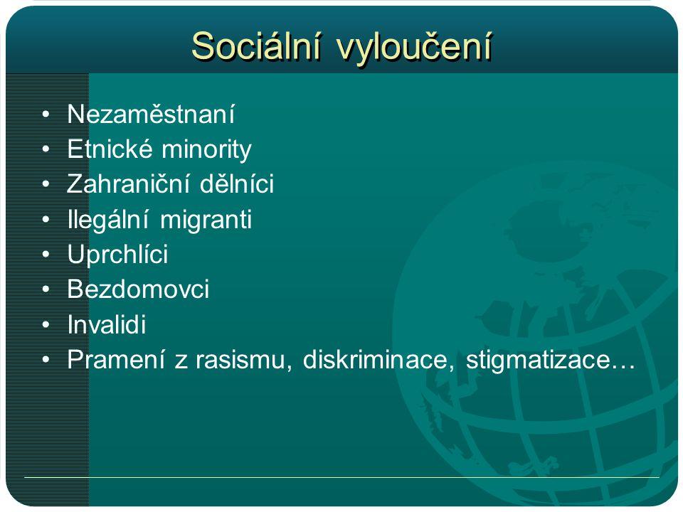 Sociální vyloučení •Nezaměstnaní •Etnické minority •Zahraniční dělníci •Ilegální migranti •Uprchlíci •Bezdomovci •Invalidi •Pramení z rasismu, diskriminace, stigmatizace…