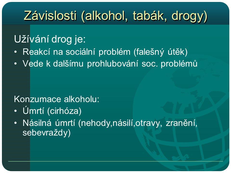 Závislosti (alkohol, tabák, drogy) Užívání drog je: •Reakcí na sociální problém (falešný útěk) •Vede k dalšímu prohlubování soc.