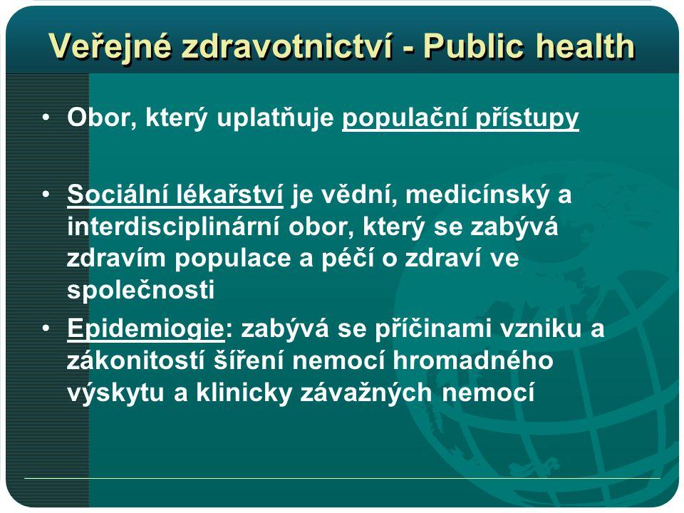 Veřejné zdravotnictví - Public health •Obor, který uplatňuje populační přístupy •Sociální lékařství je vědní, medicínský a interdisciplinární obor, který se zabývá zdravím populace a péčí o zdraví ve společnosti •Epidemiogie: zabývá se příčinami vzniku a zákonitostí šíření nemocí hromadného výskytu a klinicky závažných nemocí