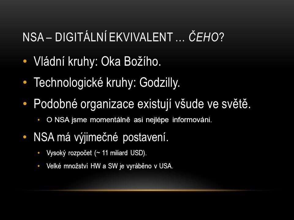 NSA – DIGITÁLNÍ EKVIVALENT … ČEHO ? • Vládní kruhy: Oka Božího. • Technologické kruhy: Godzilly. • Podobné organizace existují všude ve světě. •O NSA