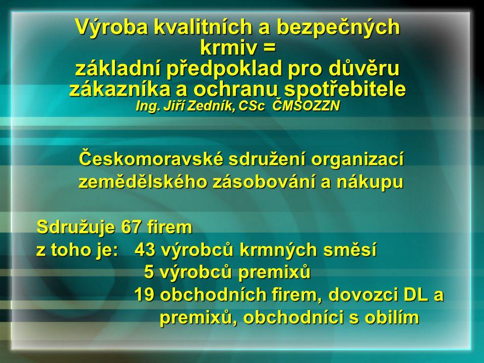 Výroba kvalitních a bezpečných krmiv = základní předpoklad pro důvěru zákazníka a ochranu spotřebitele Ing. Jiří Zedník, CSc ČMSOZZN Českomoravské sdr