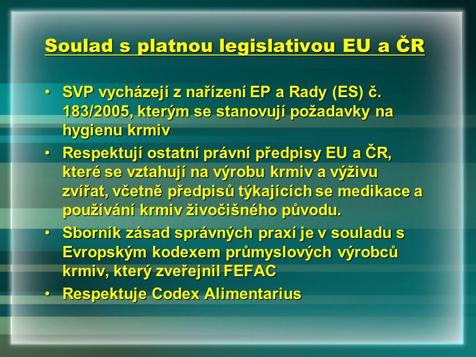Soulad s platnou legislativou EU a ČR •SVP vycházejí z nařízení EP a Rady (ES) č. 183/2005, kterým se stanovují požadavky na hygienu krmiv •Respektují