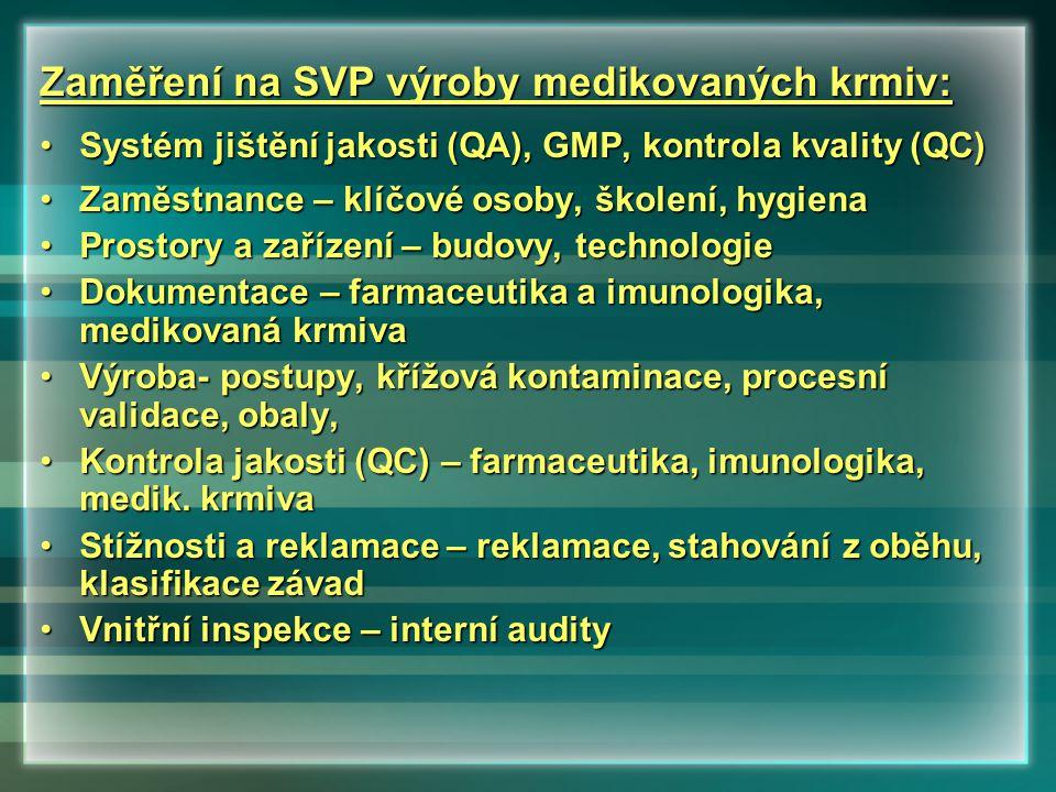 Zaměření na SVP výroby medikovaných krmiv: •Systém jištění jakosti (QA), GMP, kontrola kvality (QC) •Zaměstnance – klíčové osoby, školení, hygiena •Pr