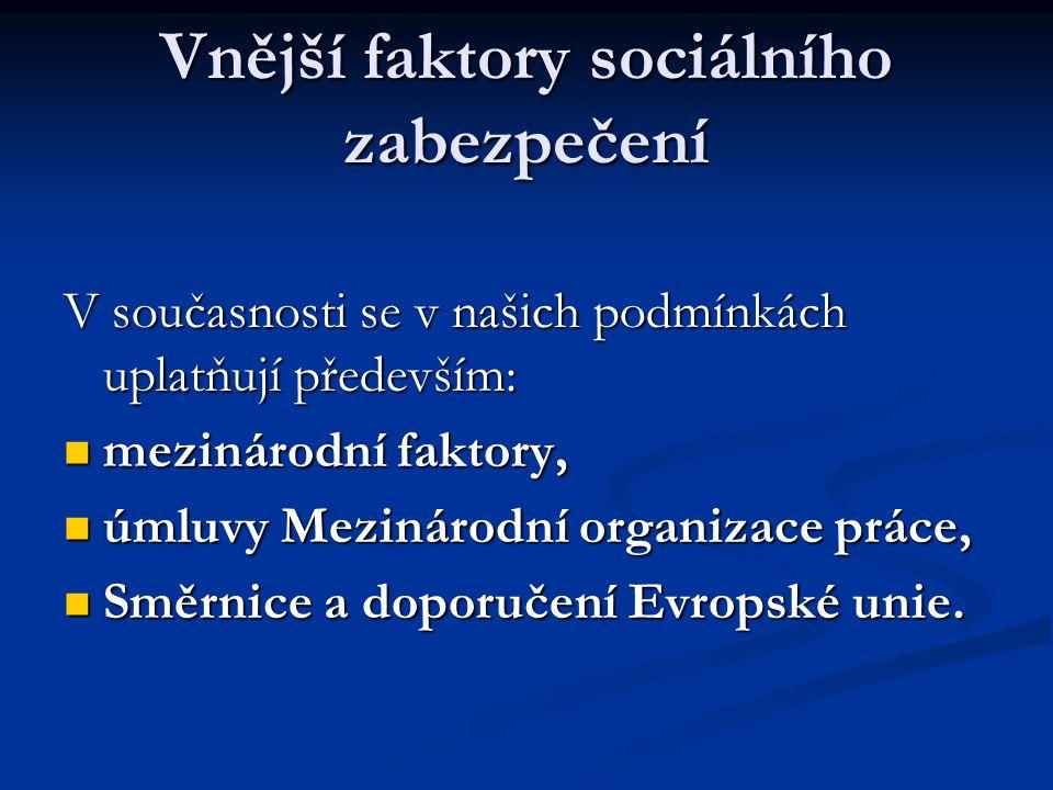 Vnější faktory sociálního zabezpečení V současnosti se v našich podmínkách uplatňují především:  mezinárodní faktory,  úmluvy Mezinárodní organizace