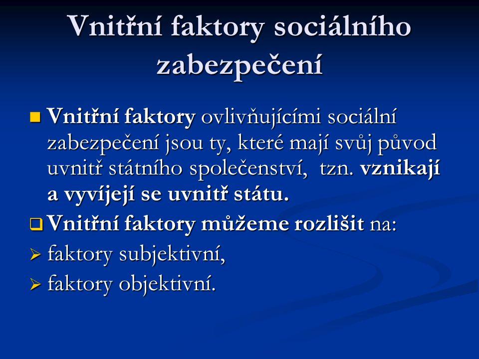 Vnitřní faktory sociálního zabezpečení Vnitřní faktory sociálního zabezpečení  Vnitřní faktory ovlivňujícími sociální zabezpečení jsou ty, které mají