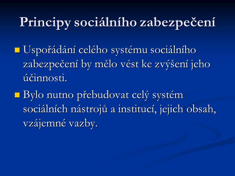  Uspořádání celého systému sociálního zabezpečení by mělo vést ke zvýšení jeho účinnosti.  Bylo nutno přebudovat celý systém sociálních nástrojů a i