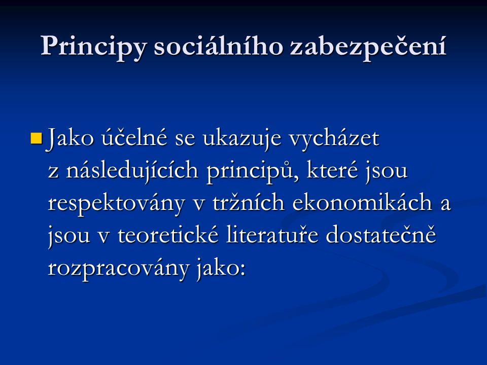 Principy sociálního zabezpečení  Jako účelné se ukazuje vycházet z následujících principů, které jsou respektovány v tržních ekonomikách a jsou v teo