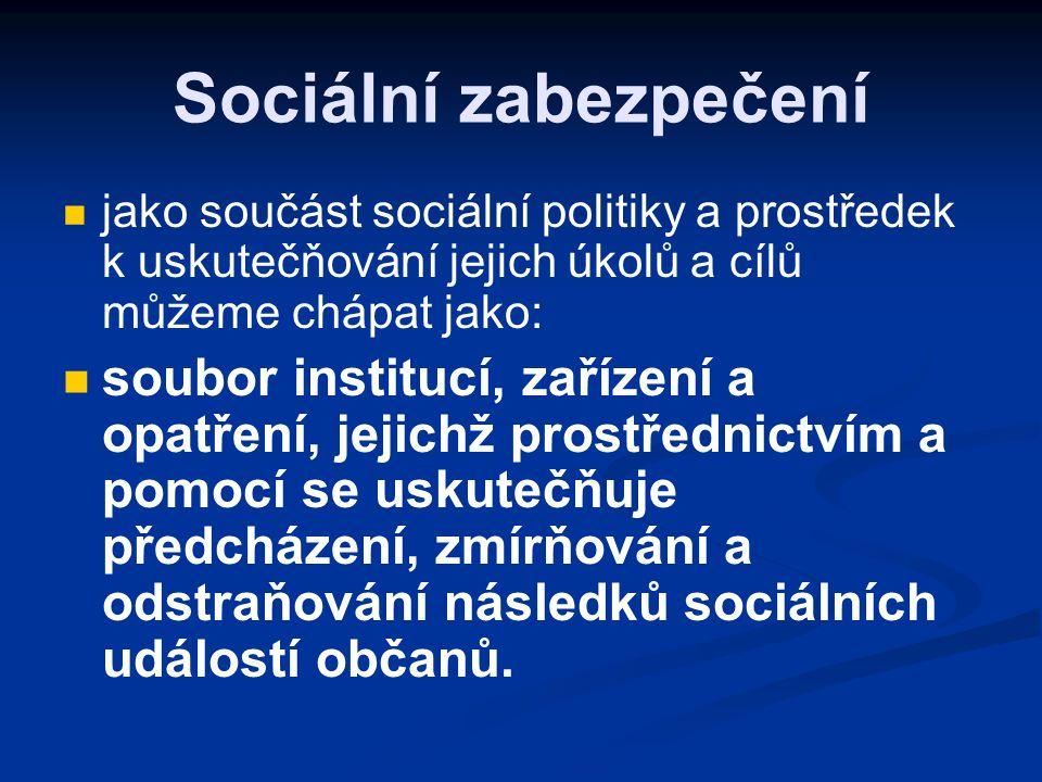 Definice sociálního zabezpečení  soubor právních norem, institutů, institucí a vztahů, jejichž účelem je předcházet možným sociálním rizikům, odstraňovat nepříznivé následky, které vzniknou jedincům v důsledku stanovených sociálních událostí, a vytvářet tak příznivé podmínky pro všestranný sociální rozvoj člověka.