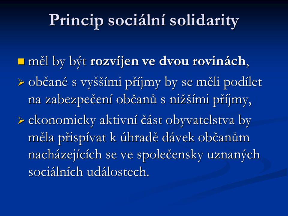 Princip sociální solidarity  měl by být rozvíjen ve dvou rovinách,  občané s vyššími příjmy by se měli podílet na zabezpečení občanů s nižšími příjm
