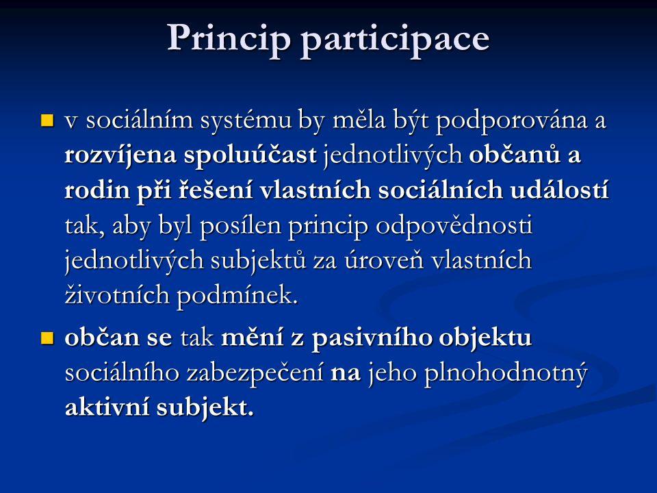 Princip participace  v sociálním systému by měla být podporována a rozvíjena spoluúčast jednotlivých občanů a rodin při řešení vlastních sociálních u