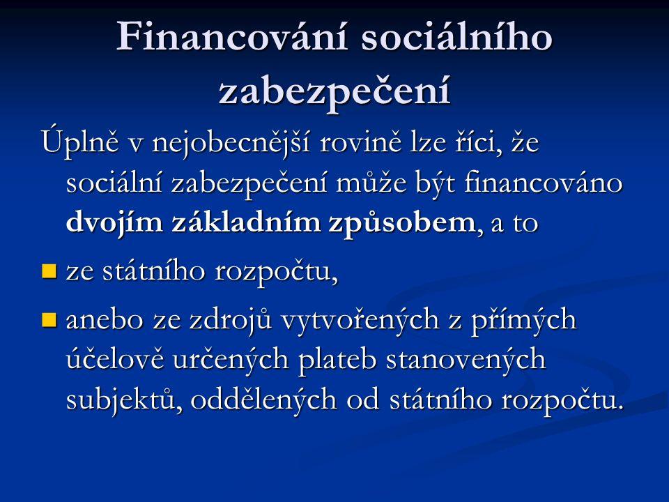 Financování sociálního zabezpečení Úplně v nejobecnější rovině lze říci, že sociální zabezpečení může být financováno dvojím základním způsobem, a to