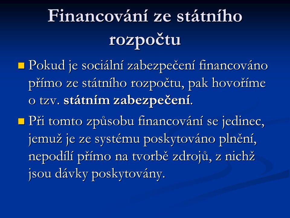 Financování ze státního rozpočtu  Pokud je sociální zabezpečení financováno přímo ze státního rozpočtu, pak hovoříme o tzv. státním zabezpečení.  Př