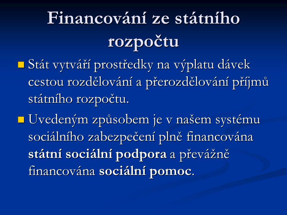 Financování ze státního rozpočtu  Stát vytváří prostředky na výplatu dávek cestou rozdělování a přerozdělování příjmů státního rozpočtu.  Uvedeným z