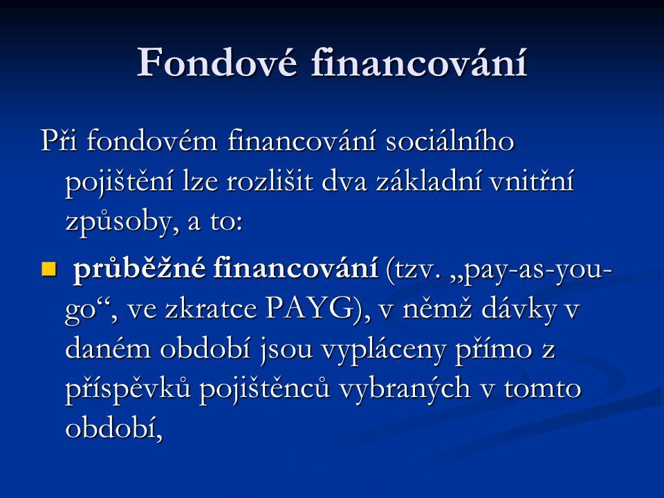 """Fondové financování Při fondovém financování sociálního pojištění lze rozlišit dva základní vnitřní způsoby, a to:  průběžné financování (tzv. """"pay-a"""