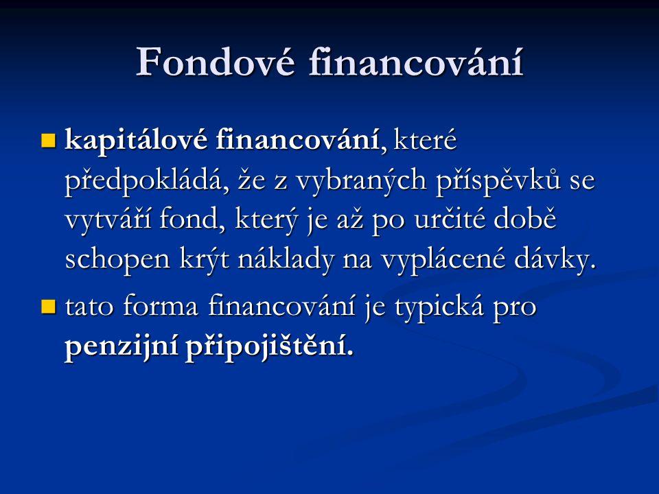Fondové financování  kapitálové financování, které předpokládá, že z vybraných příspěvků se vytváří fond, který je až po určité době schopen krýt nák