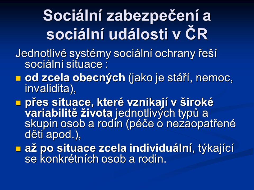 Sociální zabezpečení a sociální události v ČR Jednotlivé systémy sociální ochrany řeší sociální situace :  od zcela obecných (jako je stáří, nemoc, i