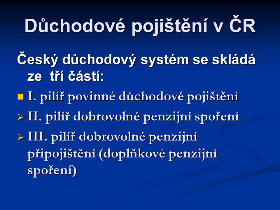 Důchodové pojištění v ČR Český důchodový systém se skládá ze tří částí:  I. pilíř povinné důchodové pojištění  II. pilíř dobrovolné penzijní spoření