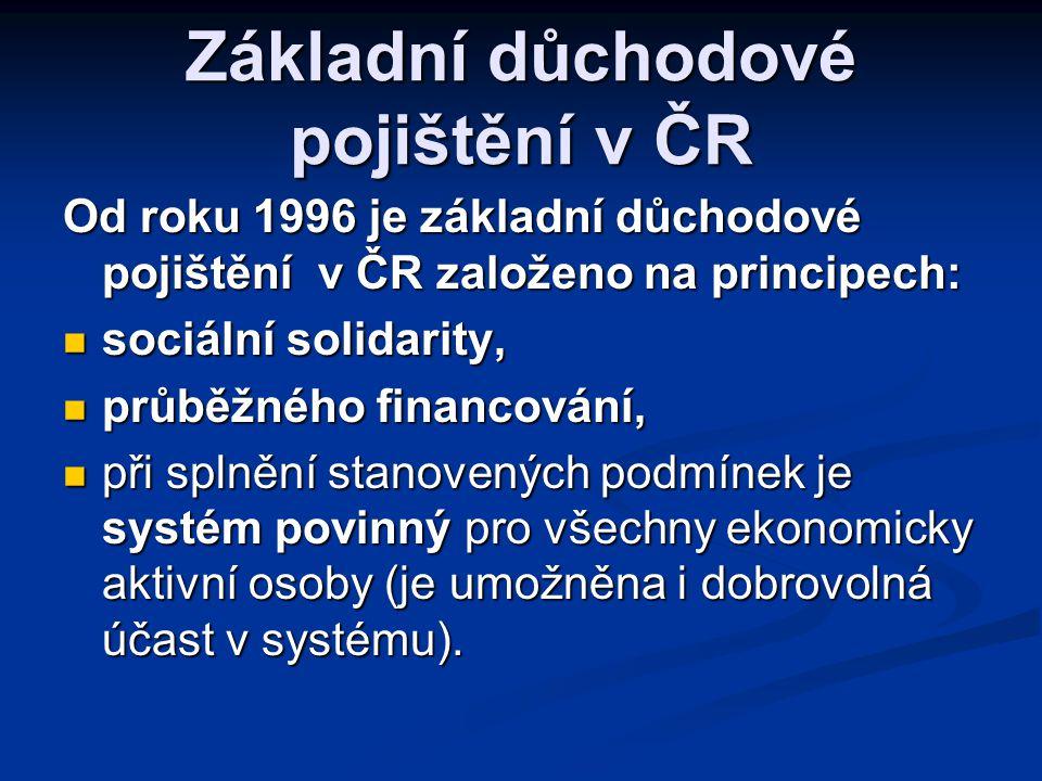 Základní důchodové pojištění v ČR Od roku 1996 je základní důchodové pojištění v ČR založeno na principech:  sociální solidarity,  průběžného financ