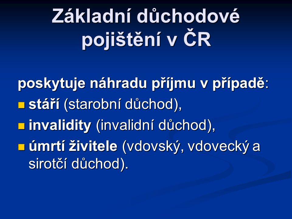 Základní důchodové pojištění v ČR poskytuje náhradu příjmu v případě:  stáří (starobní důchod),  invalidity (invalidní důchod),  úmrtí živitele (vd