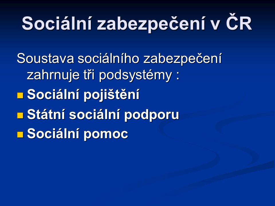 Sociální zabezpečení v ČR Soustava sociálního zabezpečení zahrnuje tři podsystémy :  Sociální pojištění  Státní sociální podporu  Sociální pomoc