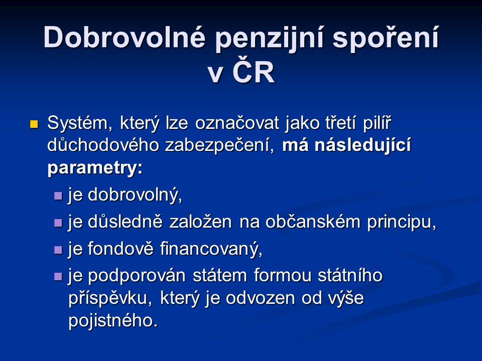 Dobrovolné penzijní spoření v ČR  Systém, který lze označovat jako třetí pilíř důchodového zabezpečení, má následující parametry:  je dobrovolný, 