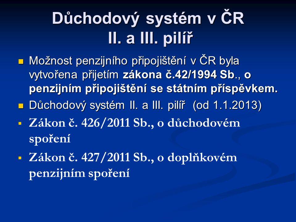  Možnost penzijního připojištění v ČR byla vytvořena přijetím zákona č.42/1994 Sb., o penzijním připojištění se státním příspěvkem.  Důchodový systé