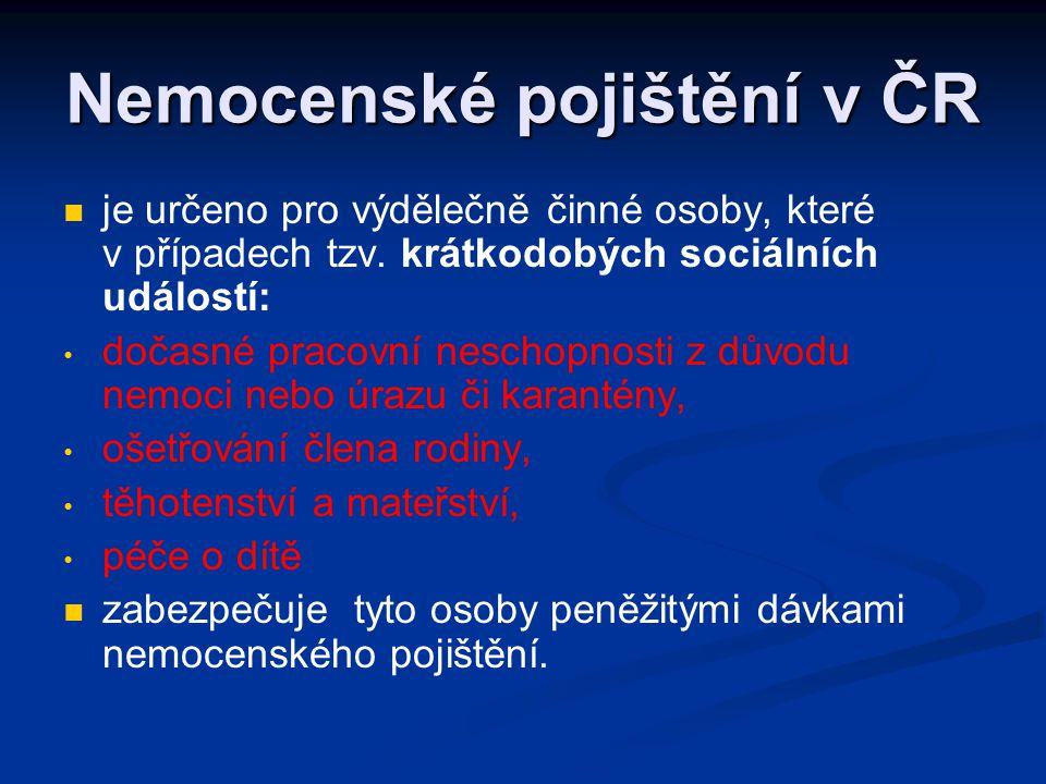 Nemocenské pojištění v ČR   je určeno pro výdělečně činné osoby, které v případech tzv. krátkodobých sociálních událostí: • • dočasné pracovní nesch