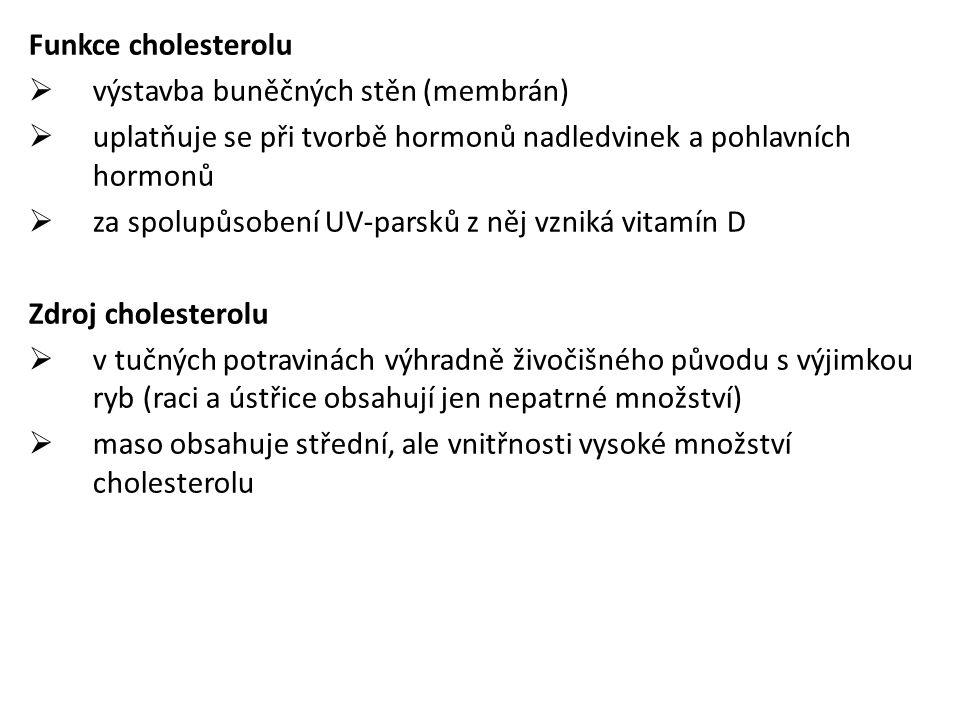 Funkce cholesterolu  výstavba buněčných stěn (membrán)  uplatňuje se při tvorbě hormonů nadledvinek a pohlavních hormonů  za spolupůsobení UV-parsků z něj vzniká vitamín D Zdroj cholesterolu  v tučných potravinách výhradně živočišného původu s výjimkou ryb (raci a ústřice obsahují jen nepatrné množství)  maso obsahuje střední, ale vnitřnosti vysoké množství cholesterolu