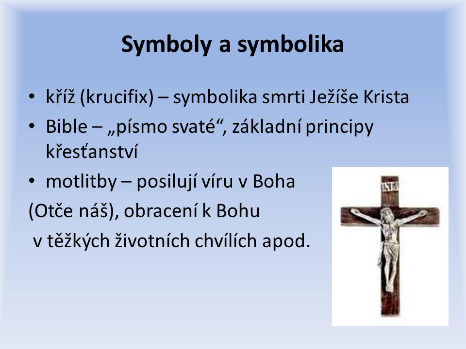 Symbolika • kříž • krev/kalich a chléb • voda a křest