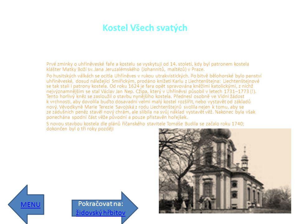 Kostel Všech svatých Prvé zmínky o uhříněveské faře a kostelu se vyskytují od 14.