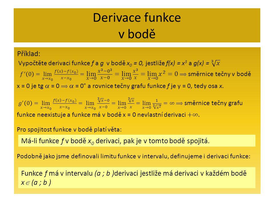 Derivace funkce v bodě Příklad: Funkce f má v intervalu (a ; b )derivaci jestliže má derivaci v každém bodě x  (a ; b ) Má-li funkce f v bodě x 0 der