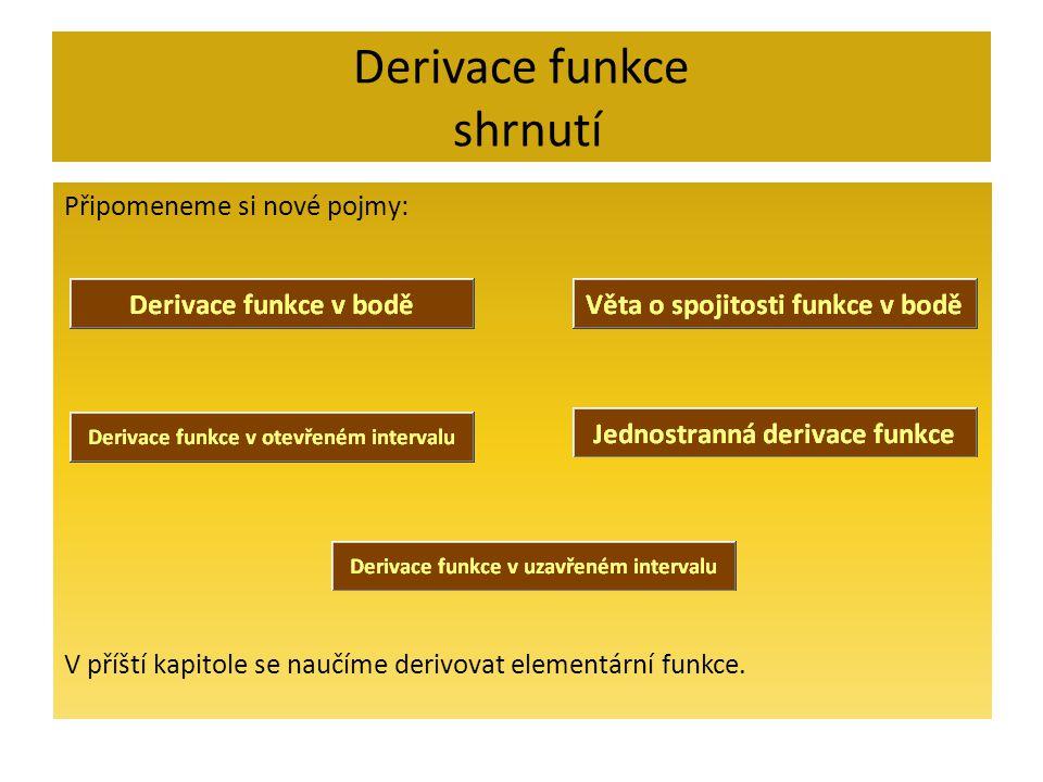 Derivace funkce shrnutí Připomeneme si nové pojmy: V příští kapitole se naučíme derivovat elementární funkce.
