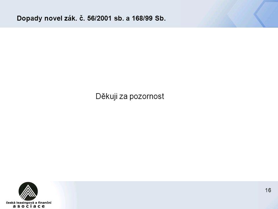16 Dopady novel zák. č. 56/2001 sb. a 168/99 Sb. Děkuji za pozornost