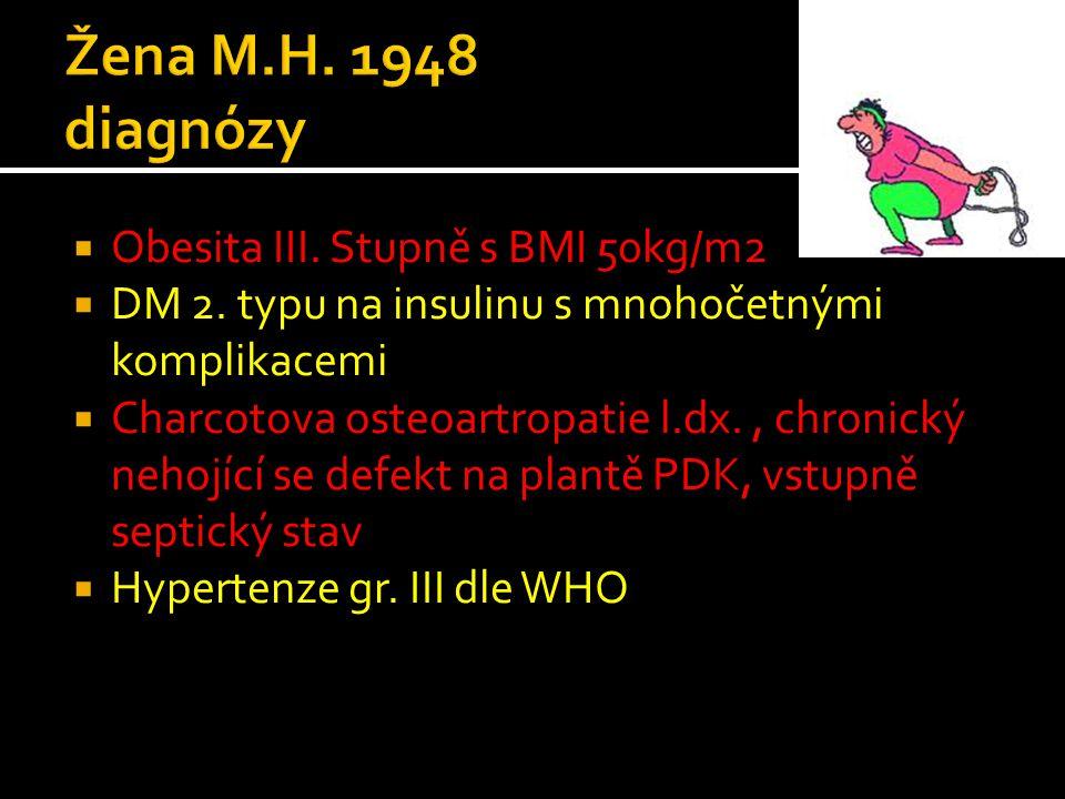  Obesita III. Stupně s BMI 50kg/m2  DM 2. typu na insulinu s mnohočetnými komplikacemi  Charcotova osteoartropatie l.dx., chronický nehojící se def
