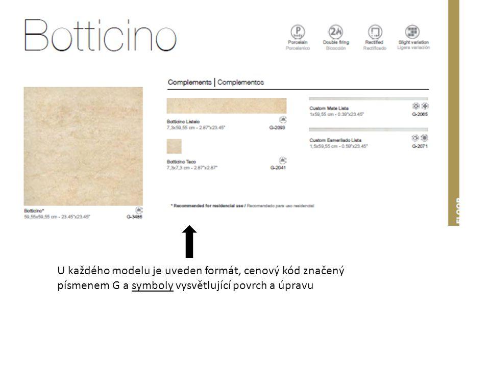 Na konci prezentace modelové řady je uveden balící list, tloušťky dlaždic.