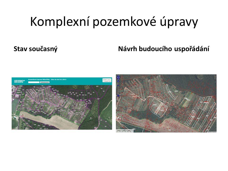 Komplexní pozemkové úpravy Stav současnýNávrh budoucího uspořádání