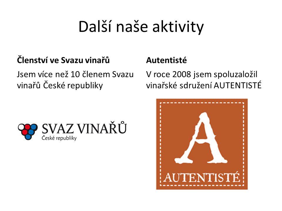 Další naše aktivity Členství ve Svazu vinařů Jsem více než 10 členem Svazu vinařů České republiky Autentisté V roce 2008 jsem spoluzaložil vinařské sd