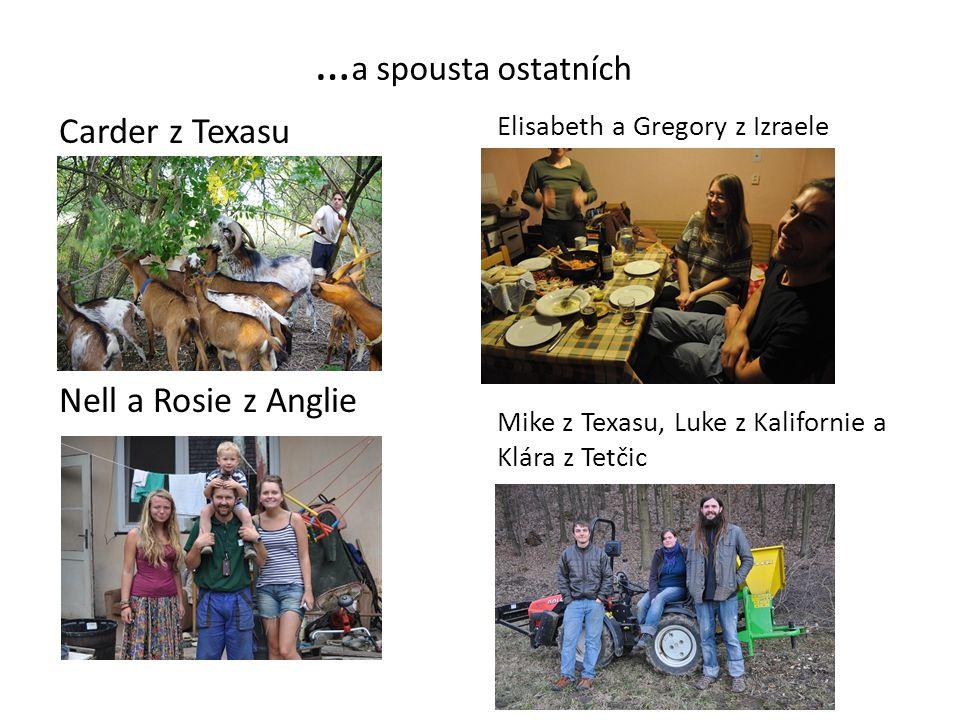 … a spousta ostatních Carder z Texasu Nell a Rosie z Anglie Elisabeth a Gregory z Izraele Mike z Texasu, Luke z Kalifornie a Klára z Tetčic