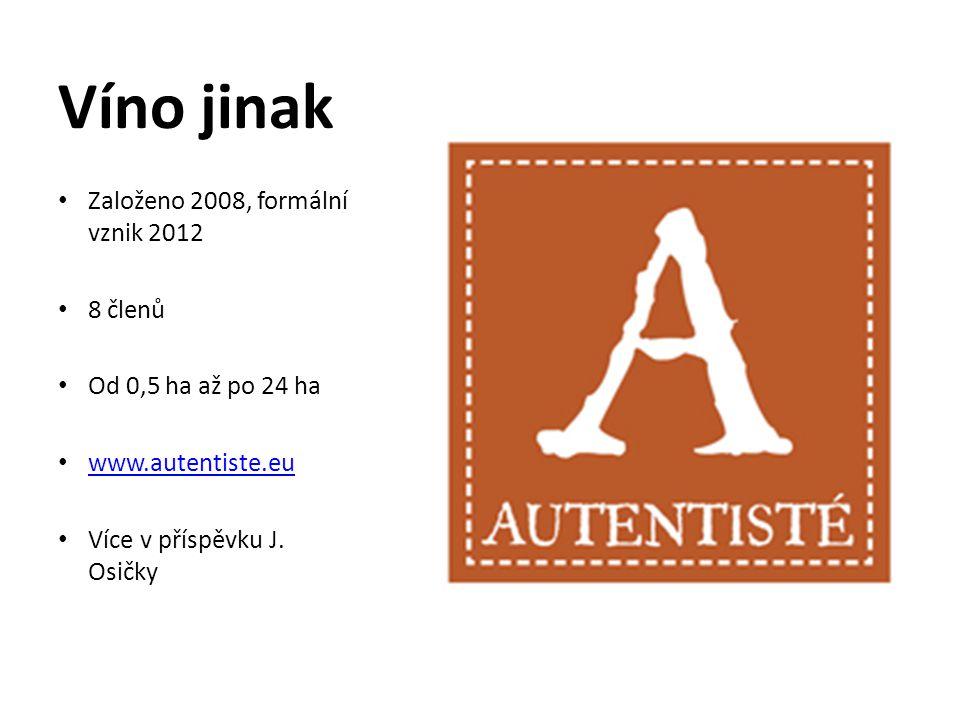 Víno jinak • Založeno 2008, formální vznik 2012 • 8 členů • Od 0,5 ha až po 24 ha • www.autentiste.eu www.autentiste.eu • Více v příspěvku J. Osičky
