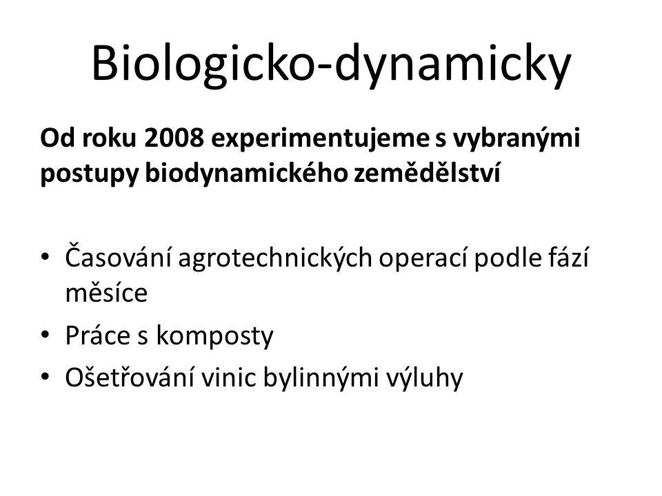 Biologicko-dynamicky Od roku 2008 experimentujeme s vybranými postupy biodynamického zemědělství • Časování agrotechnických operací podle fází měsíce