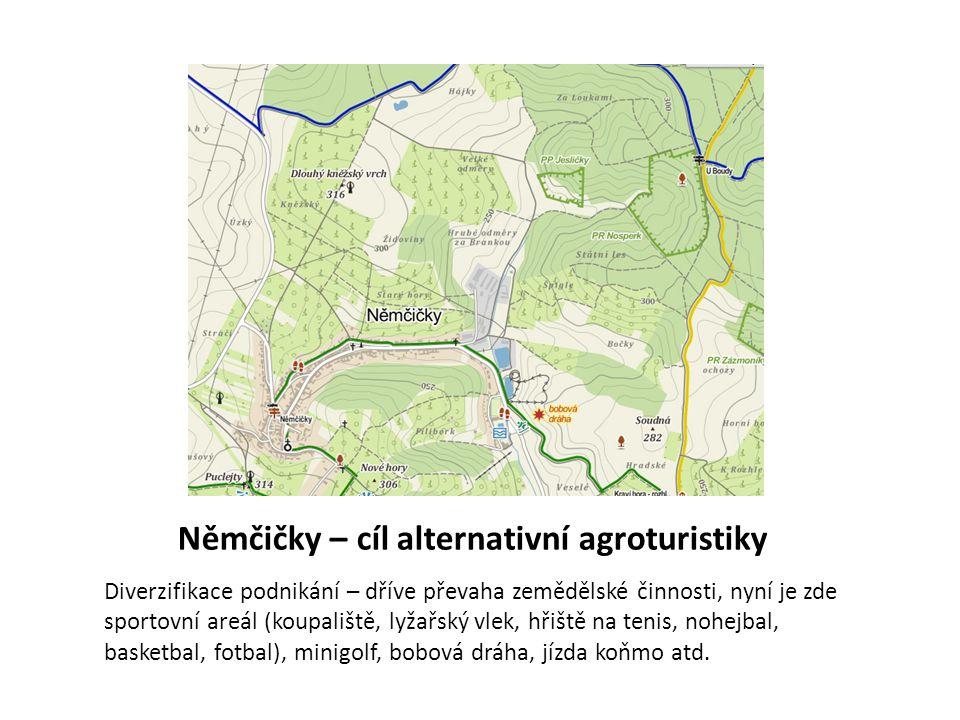 Němčičky – cíl alternativní agroturistiky Diverzifikace podnikání – dříve převaha zemědělské činnosti, nyní je zde sportovní areál (koupaliště, lyžařs