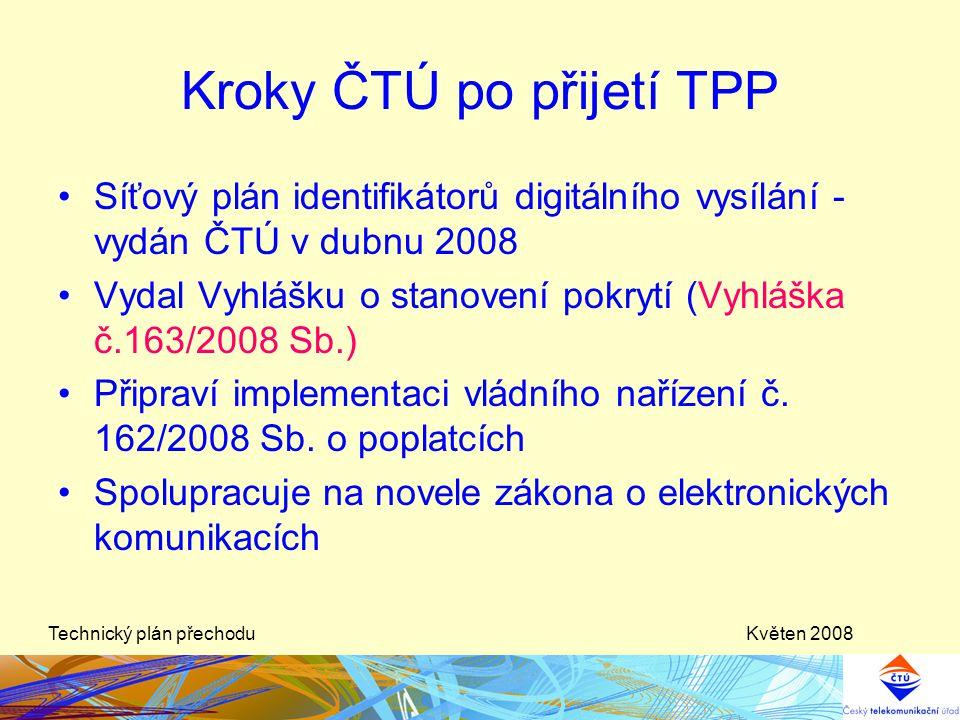 Květen 2008Technický plán přechodu Kroky ČTÚ po přijetí TPP •Síťový plán identifikátorů digitálního vysílání - vydán ČTÚ v dubnu 2008 •Vydal Vyhlášku
