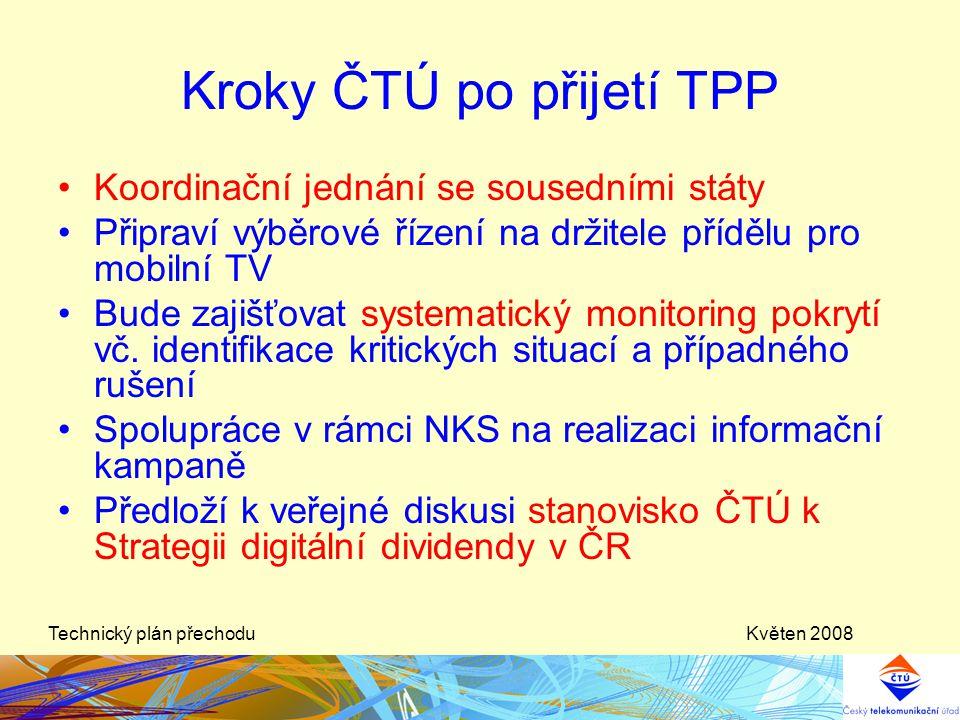 Květen 2008Technický plán přechodu Kroky ČTÚ po přijetí TPP •Koordinační jednání se sousedními státy •Připraví výběrové řízení na držitele přídělu pro
