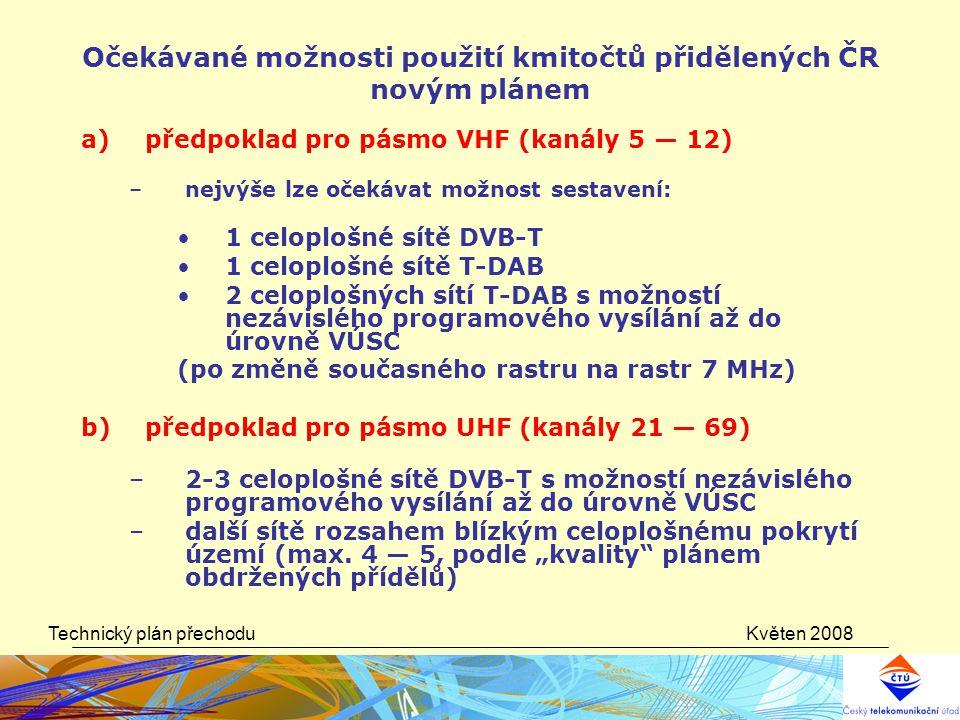 Květen 2008Technický plán přechodu Očekávané možnosti použití kmitočtů přidělených ČR novým plánem a)předpoklad pro pásmo VHF (kanály 5 — 12) –nejvýše