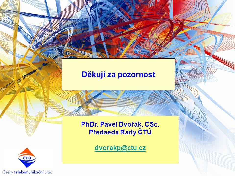 Děkuji za pozornost PhDr. Pavel Dvořák, CSc. Předseda Rady ČTÚ dvorakp@ctu.cz